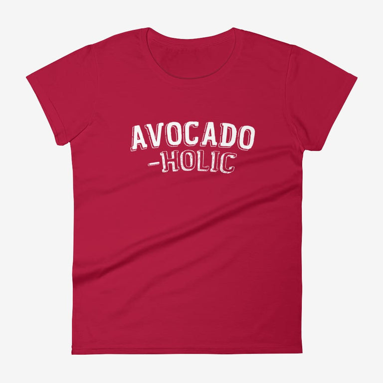 Womens Avocado-Holic Short Sleeve T-Shirt - Red / S