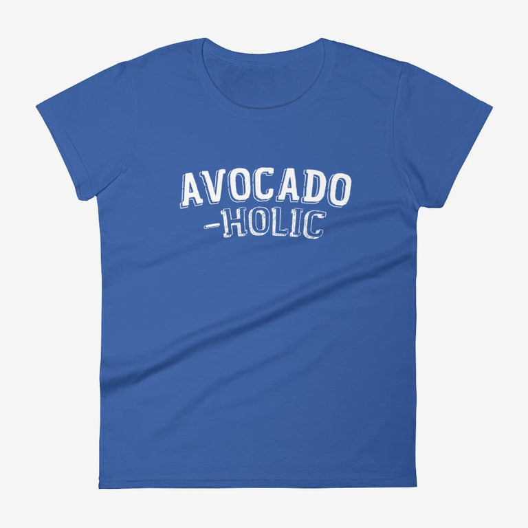 Womens Avocado-Holic Short Sleeve T-Shirt - Royal Blue / S