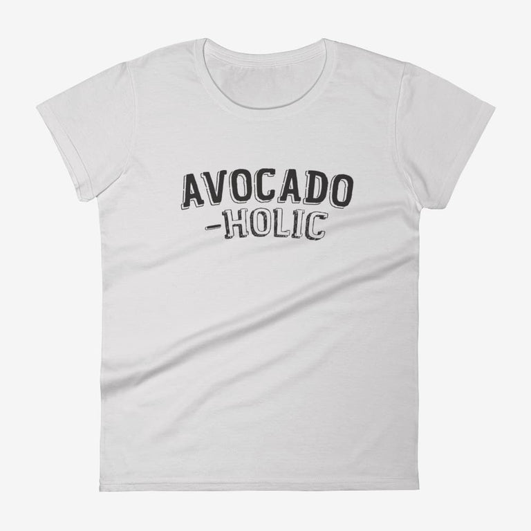 Womens Avocado-Holic Short Sleeve T-Shirt - Silver / S