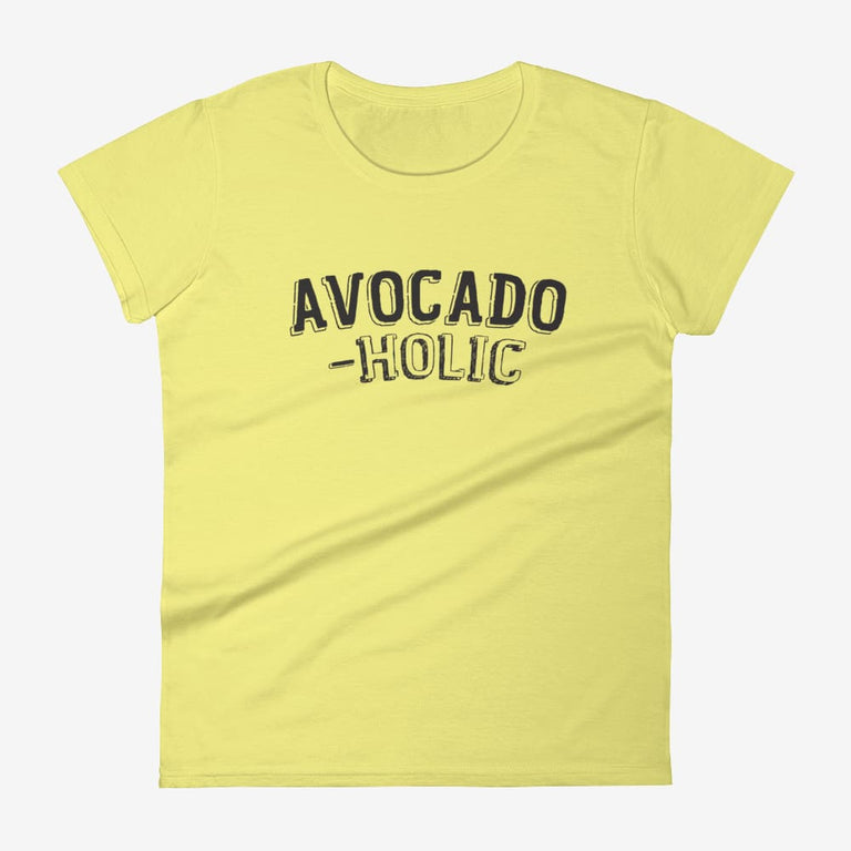 Womens Avocado-Holic Short Sleeve T-Shirt - Spring Yellow / S