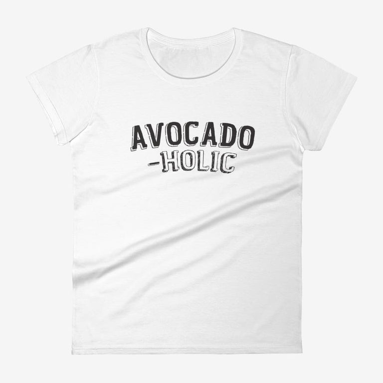 Womens Avocado-Holic Short Sleeve T-Shirt - White / S