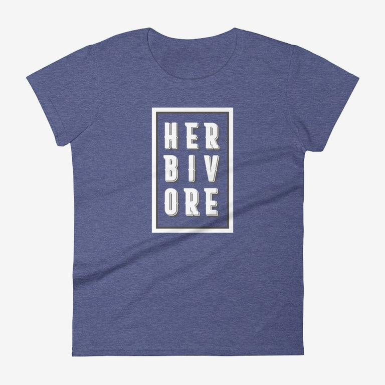 Womens Boxed Herbivore Short Sleeve T-Shirt - Heather Blue / S