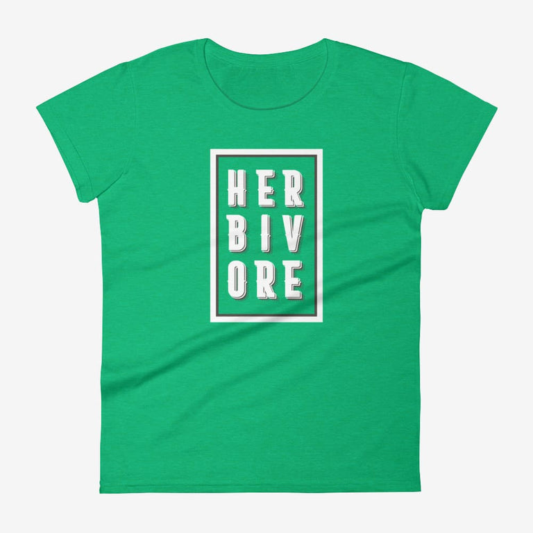 Womens Boxed Herbivore Short Sleeve T-Shirt - Heather Green / S