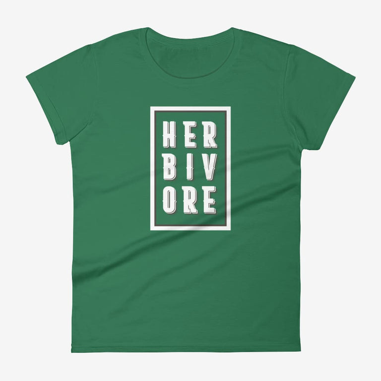 Womens Boxed Herbivore Short Sleeve T-Shirt - Kelly Green / S