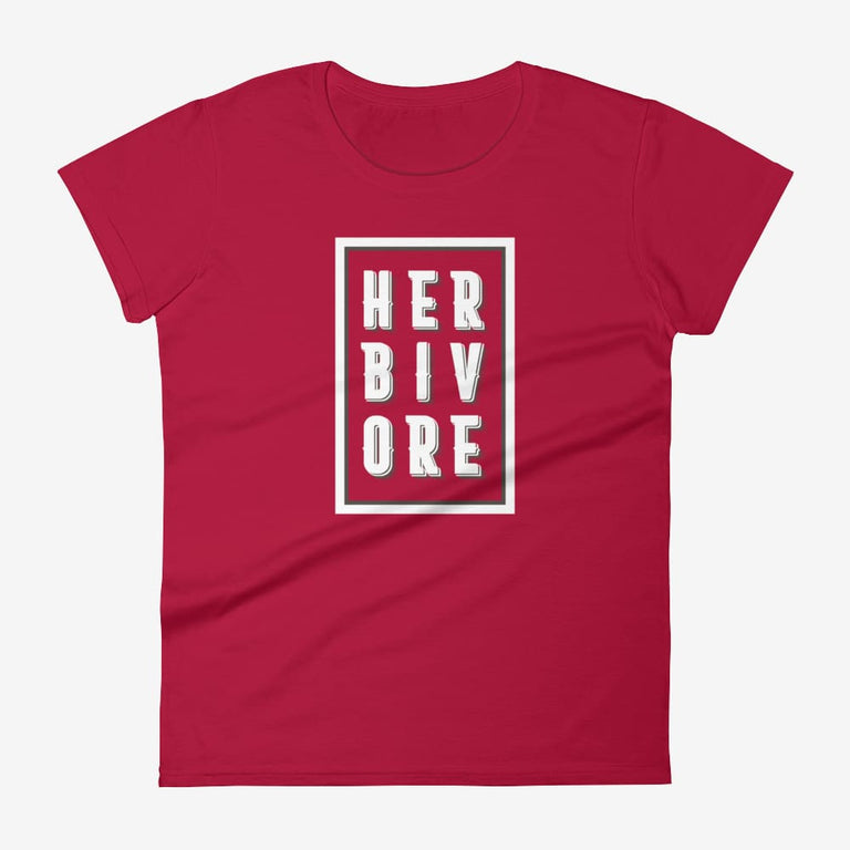 Womens Boxed Herbivore Short Sleeve T-Shirt - Red / S