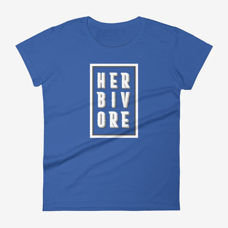 Womens Boxed Herbivore Short Sleeve T-Shirt - Royal Blue / S