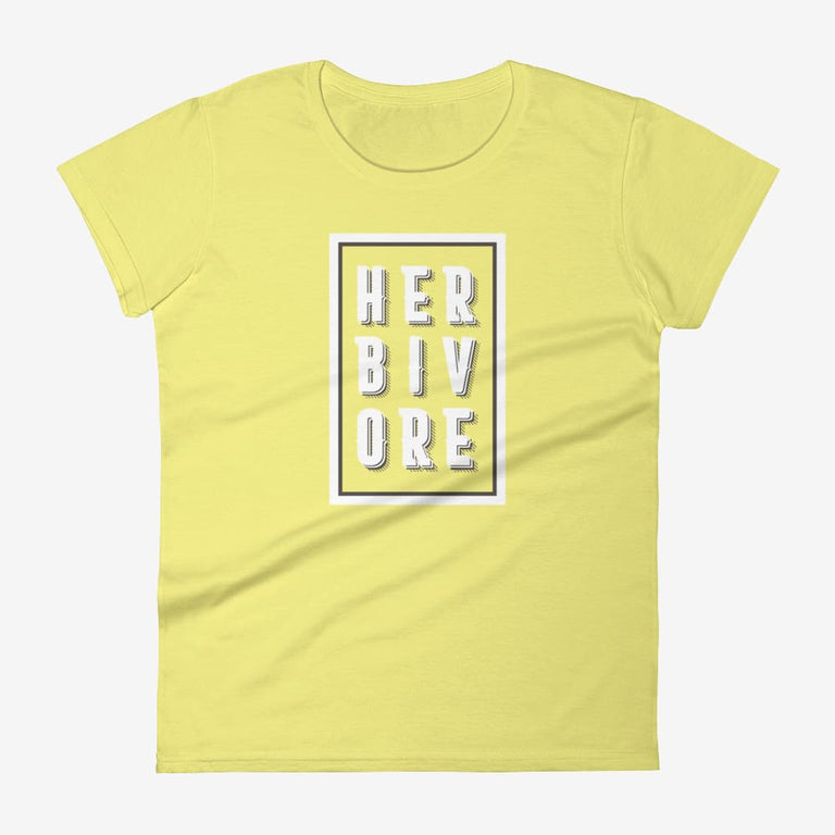 Womens Boxed Herbivore Short Sleeve T-Shirt - Spring Yellow / S
