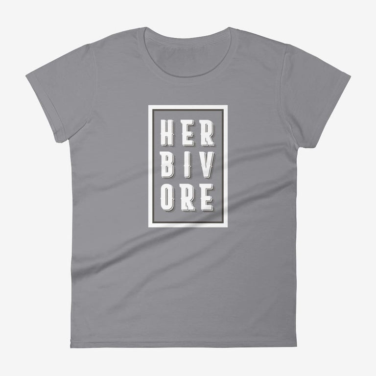 Womens Boxed Herbivore Short Sleeve T-Shirt - Storm Grey / S
