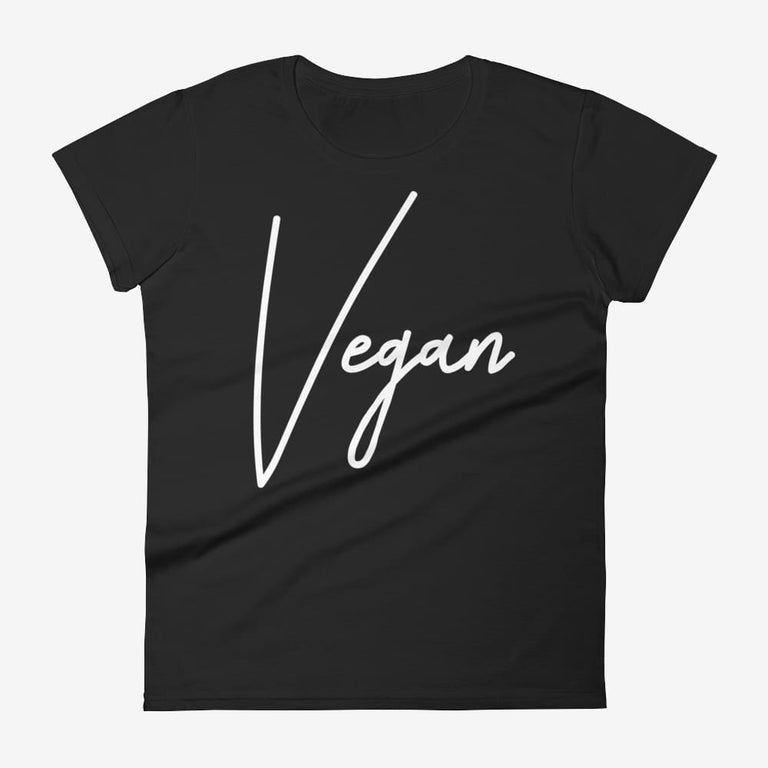 Womens Chic Vegan Short Sleeve T-Shirt - Black / S
