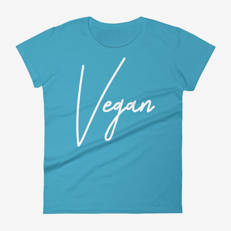Womens Chic Vegan Short Sleeve T-Shirt - Caribbean Blue / S