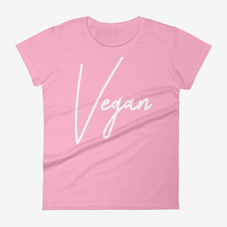 Womens Chic Vegan Short Sleeve T-Shirt - Charitypink / S
