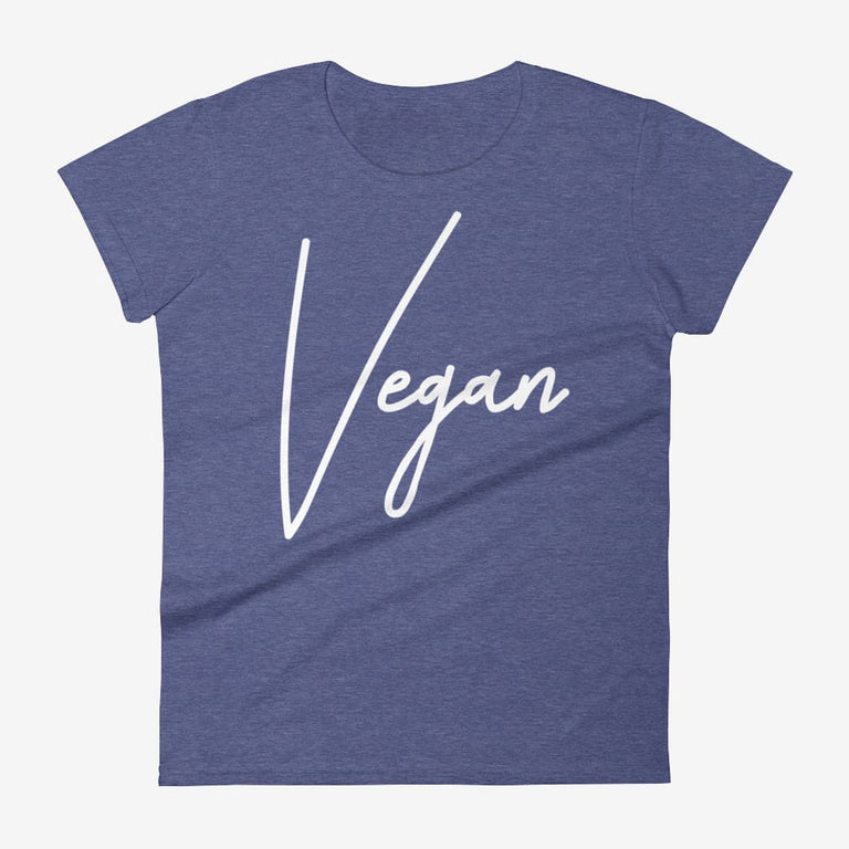 Womens Chic Vegan Short Sleeve T-Shirt - Heather Blue / S