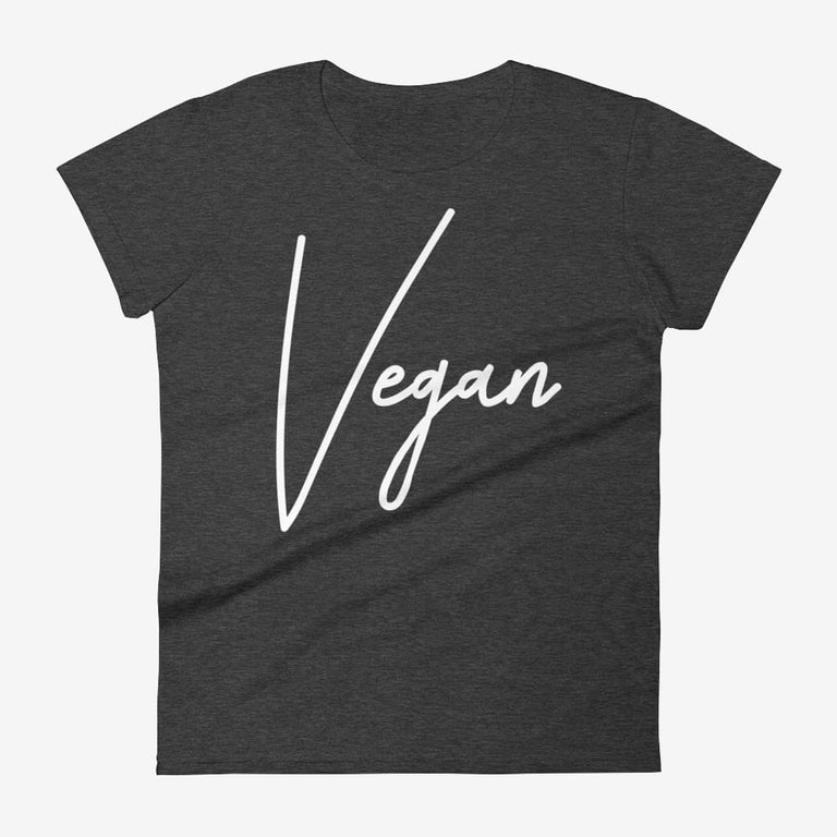 Womens Chic Vegan Short Sleeve T-Shirt - Heather Dark Grey / S