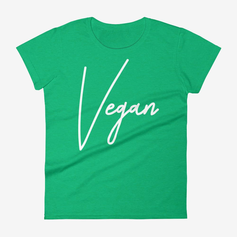 Womens Chic Vegan Short Sleeve T-Shirt - Heather Green / S