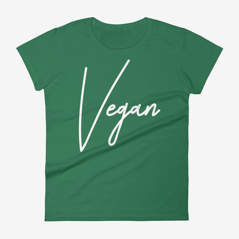 Womens Chic Vegan Short Sleeve T-Shirt - Kelly Green / S