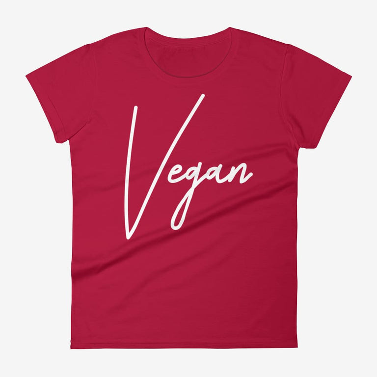 Womens Chic Vegan Short Sleeve T-Shirt - Red / S