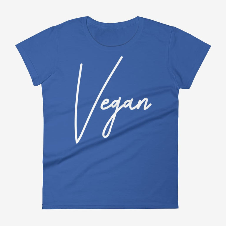 Womens Chic Vegan Short Sleeve T-Shirt - Royal Blue / S