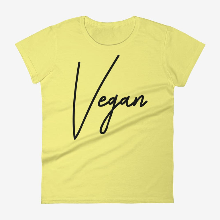 Womens Chic Vegan Short Sleeve T-Shirt - Spring Yellow / S
