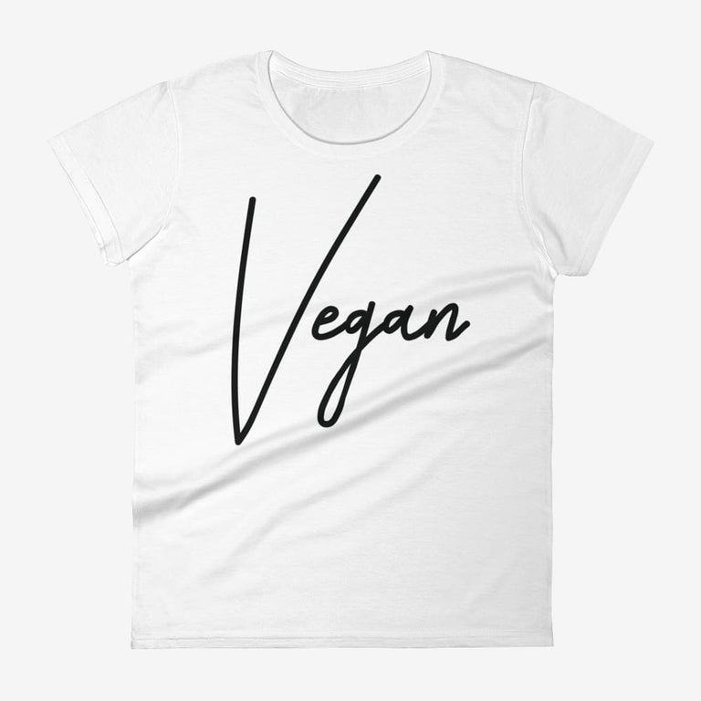 Womens Chic Vegan Short Sleeve T-Shirt - White / S