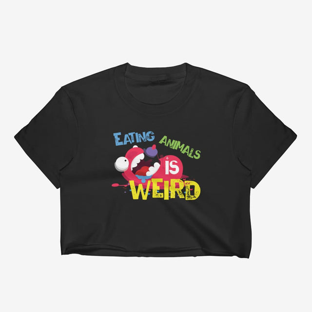 Womens Eating Animals Is Weird Crop Top - Black / S