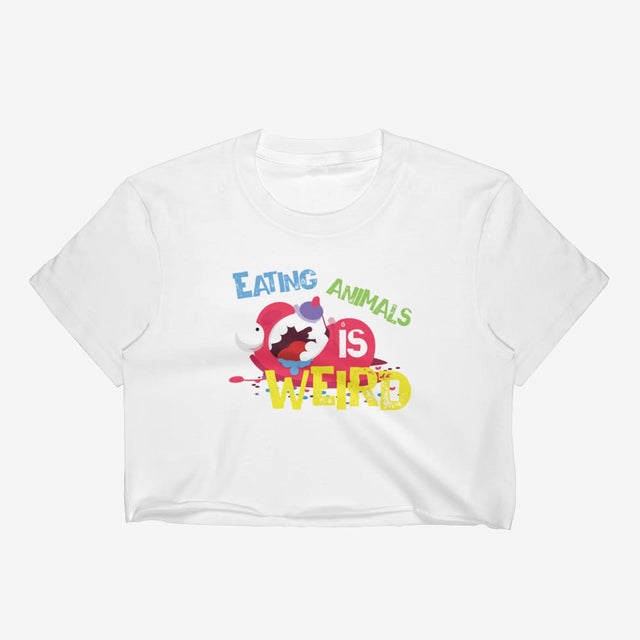 Womens Eating Animals Is Weird Crop Top - White / S