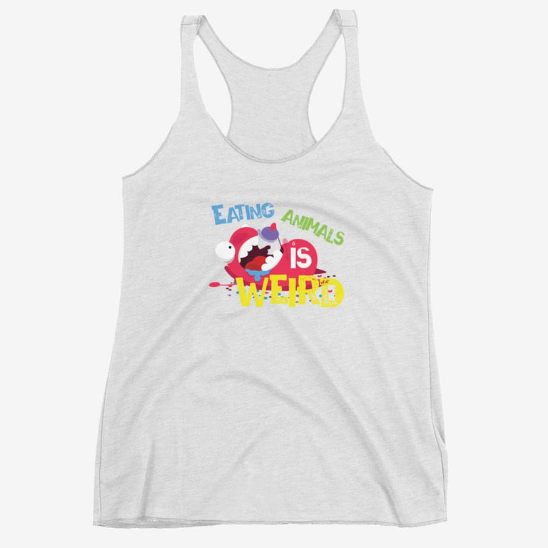 Womens Eating Animals Is Weird Racerback Tank - Heather White / Xs