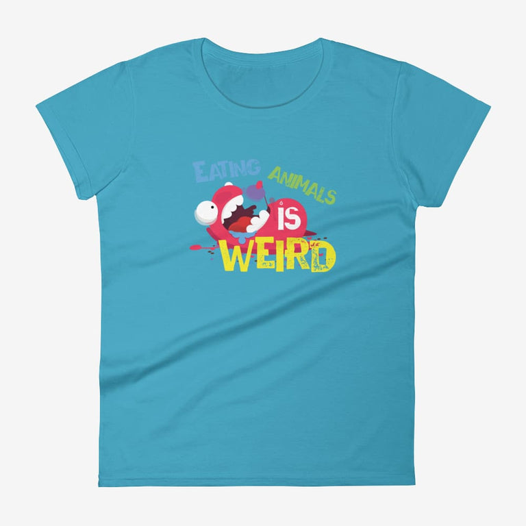 Womens Eating Animals Is Weird Short Sleeve T-Shirt - Caribbean Blue / S