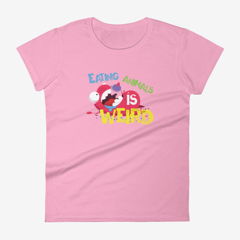 Womens Eating Animals Is Weird Short Sleeve T-Shirt - Charitypink / S