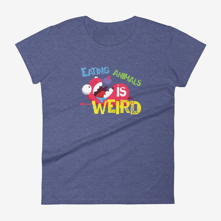 Womens Eating Animals Is Weird Short Sleeve T-Shirt - Heather Blue / S