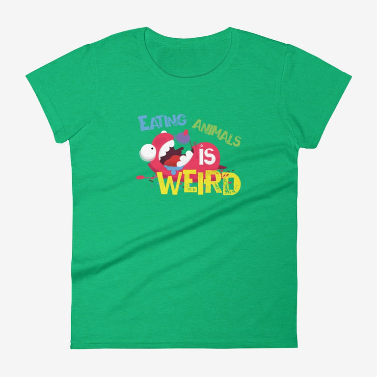 Womens Eating Animals Is Weird Short Sleeve T-Shirt - Heather Green / S
