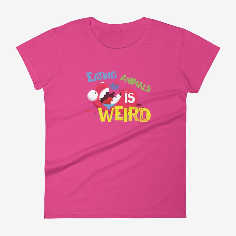 Womens Eating Animals Is Weird Short Sleeve T-Shirt - Hot Pink / S