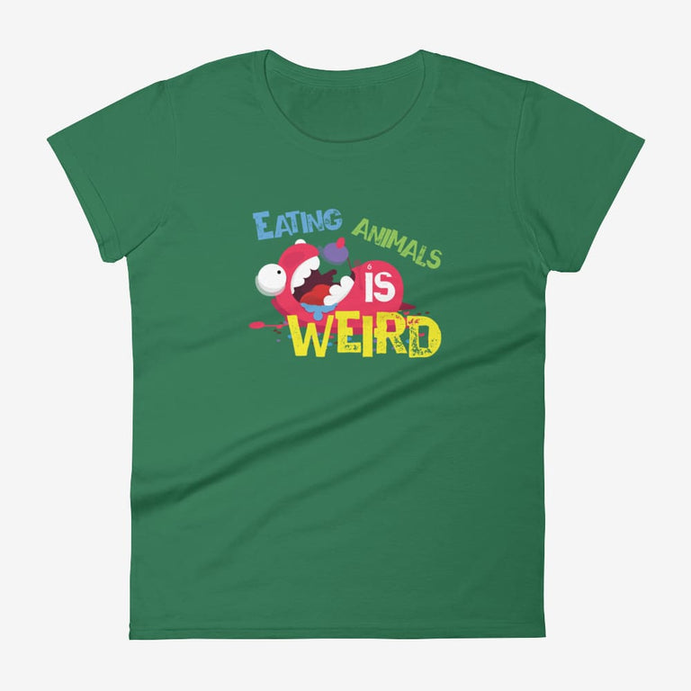 Womens Eating Animals Is Weird Short Sleeve T-Shirt - Kelly Green / S