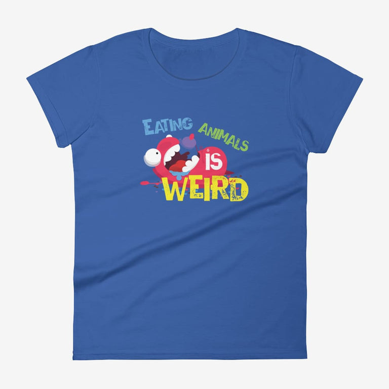 Womens Eating Animals Is Weird Short Sleeve T-Shirt - Royal Blue / S