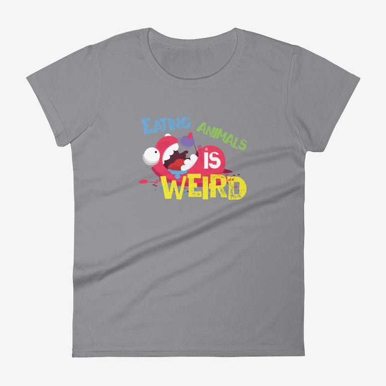 Womens Eating Animals Is Weird Short Sleeve T-Shirt - Storm Grey / S