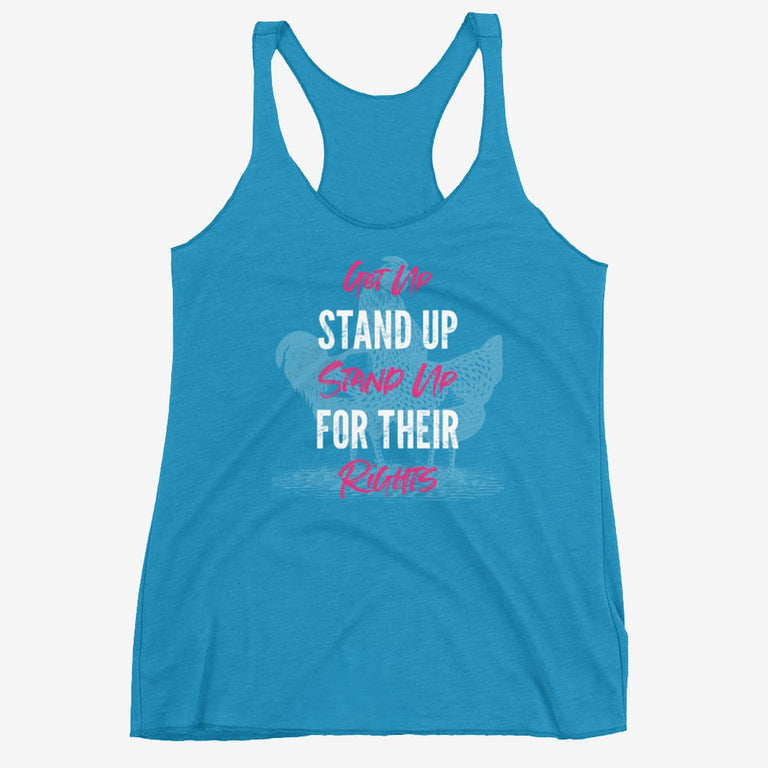 Womens Get Up Stand Up Racerback Tank - Vintage Turquoise / Xs