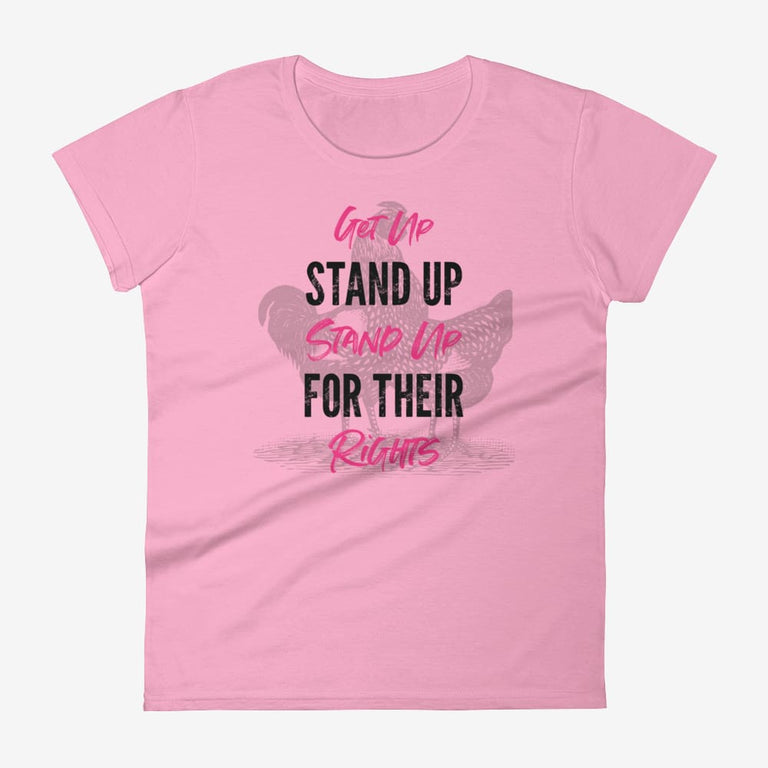 Womens Get Up Stand Up Short Sleeve T-Shirt - Charitypink / S