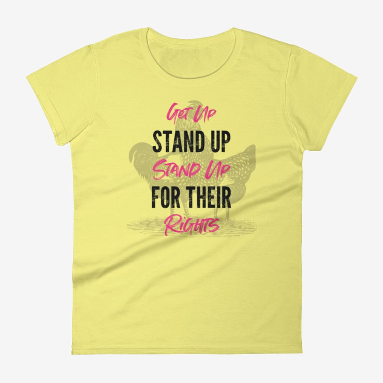 Womens Get Up Stand Up Short Sleeve T-Shirt - Spring Yellow / S
