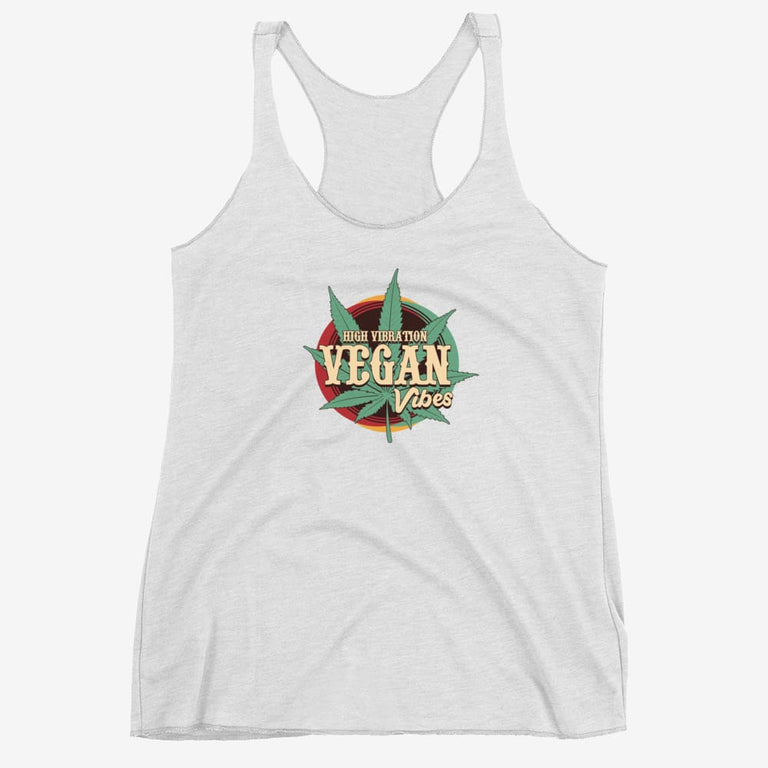 Womens High Vibration Vegan Vibes Racerback Tank - Heather White / Xs