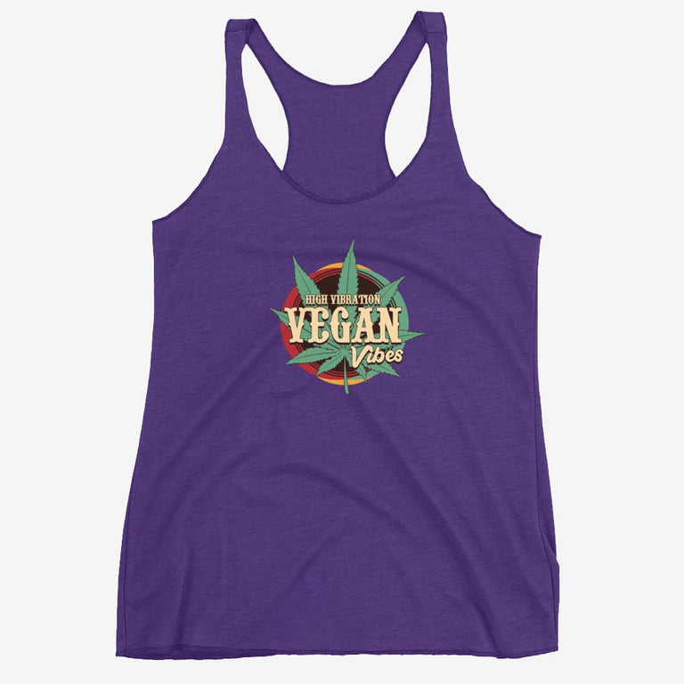 Womens High Vibration Vegan Vibes Racerback Tank - Purple Rush / Xs