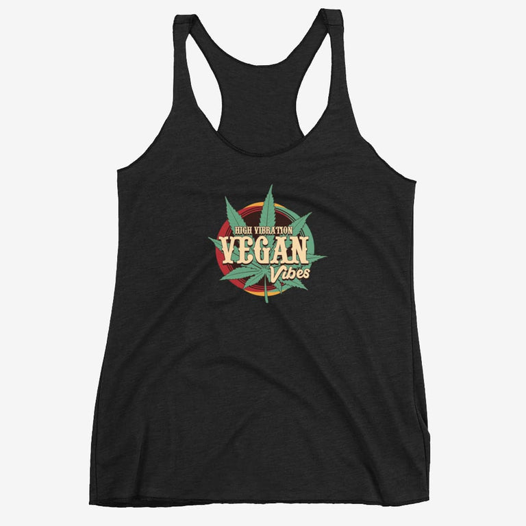 Womens High Vibration Vegan Vibes Racerback Tank - Vintage Black / Xs
