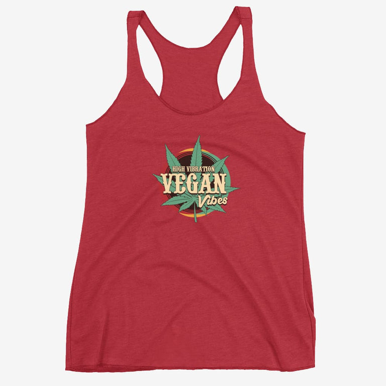 Womens High Vibration Vegan Vibes Racerback Tank - Vintage Red / Xs