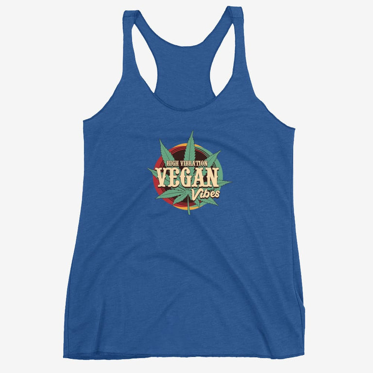 Womens High Vibration Vegan Vibes Racerback Tank - Vintage Royal / Xs