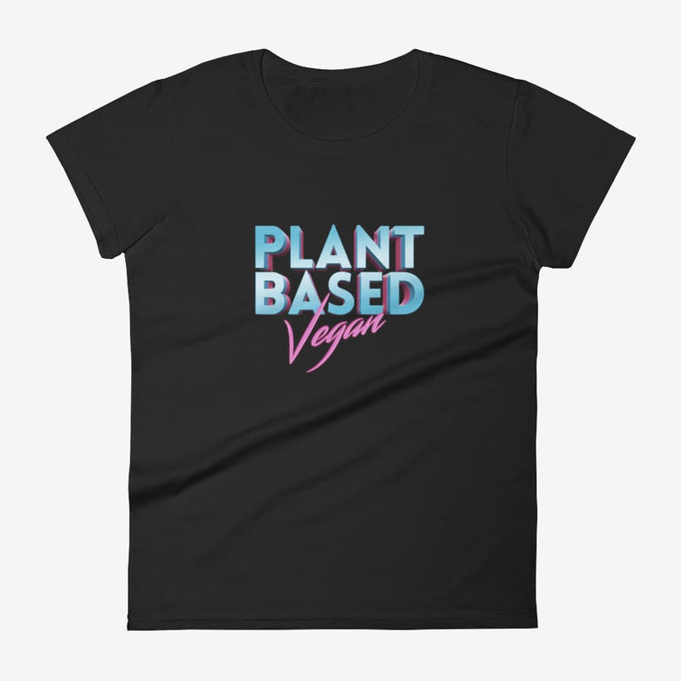 Womens Retro Plant Based Vegan Short Sleeve T-Shirt - Black / S