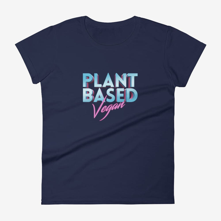 Womens Retro Plant Based Vegan Short Sleeve T-Shirt - Navy / S