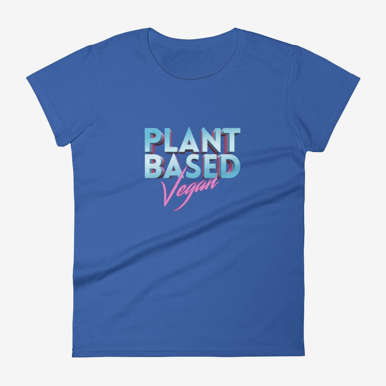 Womens Retro Plant Based Vegan Short Sleeve T-Shirt - Royal Blue / S