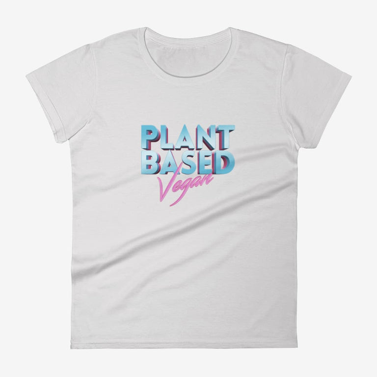 Womens Retro Plant Based Vegan Short Sleeve T-Shirt - Silver / S