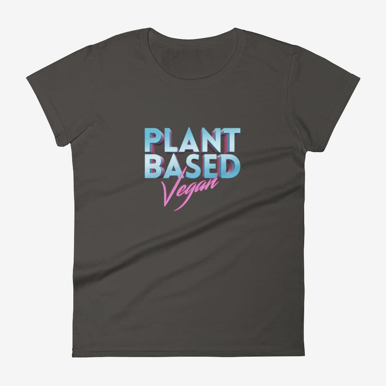Womens Retro Plant Based Vegan Short Sleeve T-Shirt - Smoke / S