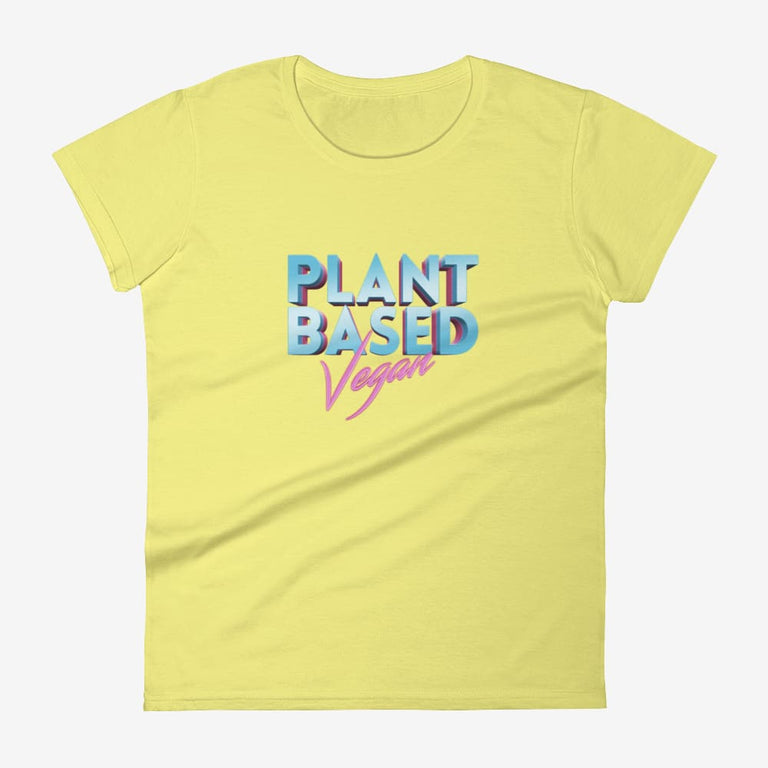 Womens Retro Plant Based Vegan Short Sleeve T-Shirt - Spring Yellow / S
