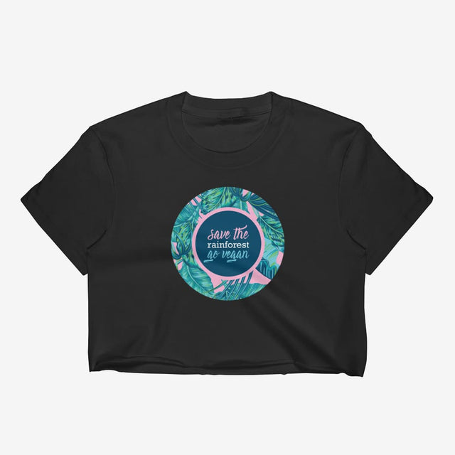 Womens Save The Rainforest. Go Vegan Crop Top - Black / S