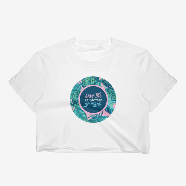 Womens Save The Rainforest. Go Vegan Crop Top - White / S